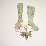 AlliumWellington, Machine embroidery and collage, 80x70cm