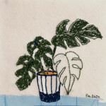 Swiss Cheese Plant. Machine embroidery on paper. 10cmx10cm