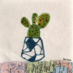 Bunny Ear Cactus. Machine embroidery on paper. 10cmx10cm