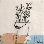 Crassula Ovata. Machine embroidery on paper. 10cmx10cm