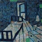 Oil paint, collage, bedroom, clock, draws, door, maps, bed