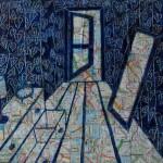 Oil paint, collage, bedroom, clock, draws, door, maps, mirror