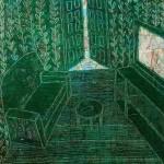 Oil paint, collage, bedroom, clock, draws, door, maps,