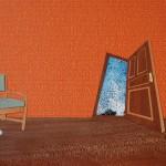Open door, birds, sky, chair, plate, cup, wood inlay, collage, wallpaper, wood verneer