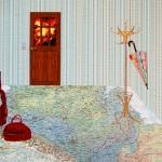 suitcase, maps, collage, umbrella, door, fire, hat stand, wood verneer