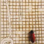 Coackroach, toilet, tiles, drawing, canvas, magnets