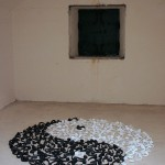 Ying yang, wax, installation, sculpture, cast, door handles, black, white, passageway