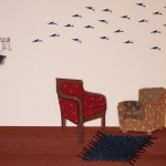arm chairs, flying fish, rug, cage, metal, collage, wings, fly, wood verneer