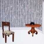 Hallway, chairs, binoculars, stairway, doorway, collage, wood verneer
