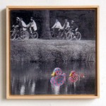 Ducks, rubber ducks, cyclist, parenthood, collage, ducklings