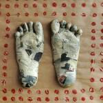 feet, pair, nail clippings, bindi, paper mache,