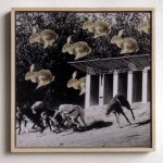 Greyhound racing, rabbits, falling from the sky, race, finishing line, collage
