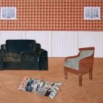 Collage, bridge, chair, sofa, rug, sweep in under the rug, pannels, floor