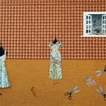 Collage, origami, dress, saree, sissors, measuring tape, wallpaper, tailors