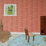 Bookshelf, chair, one book, map, moving boxes, birds, flying wallpaper, collage, paper