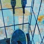 taps, bucket, maps, oil paint, collage,
