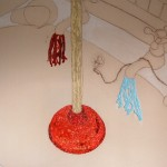 Wax, drawing, plunger, hot and cold water, taps, plug, sink, collage