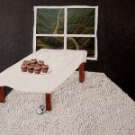 cup cakes, Cakes, mouse, pathway, window, table, dinning table, ganesh, carpet, grass, collage, graphite