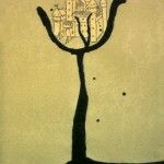 paper, drawing, castles, ladders, tree, collage,