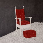 chair, footstol, royal red, daddy chair, the three bears, collage, graphite