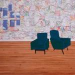 clouds, wooden floor, pictures, collage, floor lamp, maps