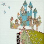 flowers, castles, grass, stars, maps, collage, canvas