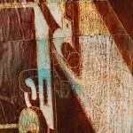 padlock, maps, oil paint, collage, toilet