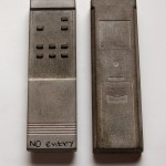 tv remotes, cast, cement, road signs, sculpture, installation,