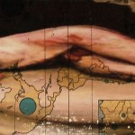 """Extract from artists books.  """"The Atlas for.""""  20x4cm. Mixed media on old school atlas"""