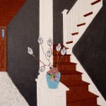 Staircases, vase, maps, twigs, growth, upstairs, downstairs, collage, wood verneer