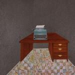 collage, maps, desk, typewritter, graphite, weave,